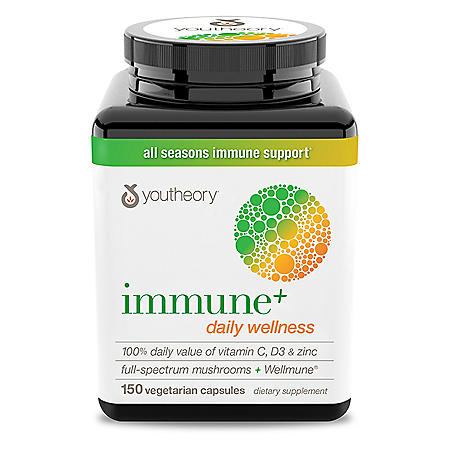 youtheory Immune + Daily Wellness, 100% Daily Value of Vitamin C, D3 and Zinc Full-Spectrum Mushrooms + Wellmune  (150 ct.)