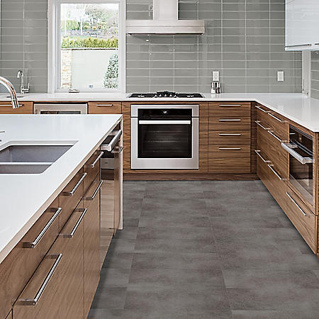 Select Surfaces Storm Gray Grouted Vinyl Tile Flooring