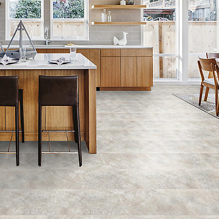 Select Surfaces Graystone Engineered Vinyl Tile Flooring - 4 Boxes