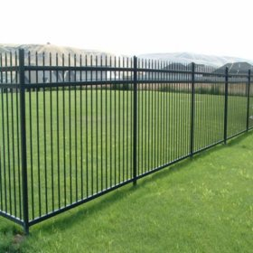Aspen Style 3-Rail Steel Fence Kit, Powder-Coated Black (6.5'W x 5'H)