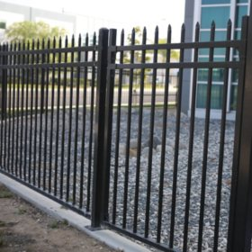 Aspen Style 3-Rail Steel Fence Gate, Powder-Coated Black (4'W x 5'H)