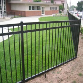 6.5' W x 5' H Traditional Series - 3 Rail Steel Fence Panel - Flat Top/Flat Bottom, Powder-Coated Black