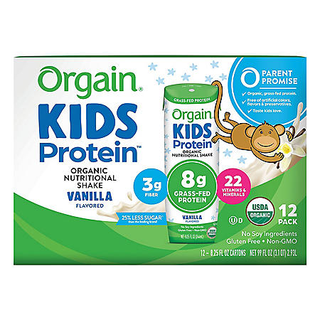 Orgain Kids Protein Organic Nutritional Shake, 8.25 fl. oz., 12 pk. - Vanilla