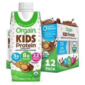 Orgain Kids Protein Organic Nutritional Shake, 8.25 fl. oz., 12 pk. - Chocolate