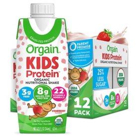 Orgain Kids Protein Organic Nutritional Shake, 8.25 fl. oz., 12 pk. - Strawberry