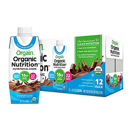 Orgain Organic Nutrition Vegan All-in-One Protein Plant Based RTD Shake, Smooth Chocolate (12 ct.)
