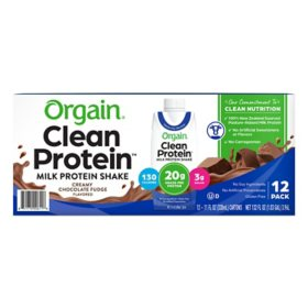 Orgain Clean Protein Grass Fed Shake, Creamy Chocolate Fudge (12 ct.)