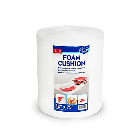 "Square Built, Foam Cushion Roll, 12"" x 75', White"