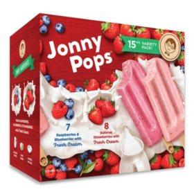 JonnyPops Frozen Fruit and Cream Bars Variety Pack (15 ct.)