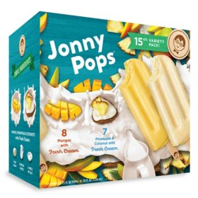 Jonny Pops Fruit and Cream Variety Pack, Frozen (15 ct.)