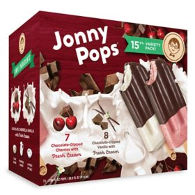 Jonny Pops Dipped in Dark Chocolate Variety Pack, Frozen (15 ct.)
