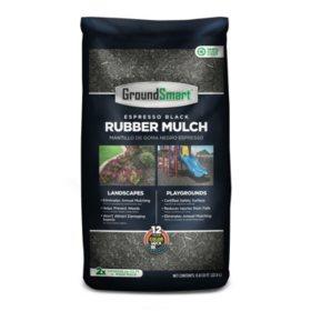 GroundSmart Espresso Black Rubber Mulch, 78.4 cuft (98 Bags/.8cuft)