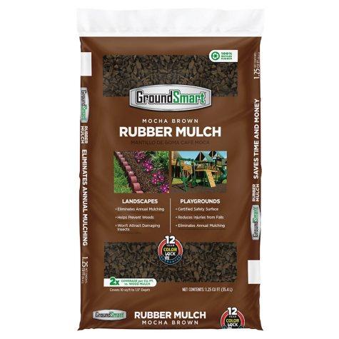 GroundSmart Rubber Mulch - Mocha Brown (1.25 cu ft Bag)