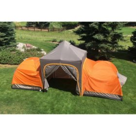 APEX CAMP Outdoor Living, Modular Camping with Canopy and 2 Dome Tents