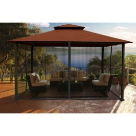 Paragon Outdoor 11' x 14' Gazebo with Sunbrella Top and Mosquito Netting (Various Colors)