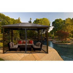 Paragon Outdoor 11' x 13' Aluminum Hard Top Gazebo with Louvered Roof and Mosquito Netting