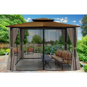 Paragon Outdoor 10' x 12' Gazebo with Privacy Curtains and Mosquito Netting (Various Colors)
