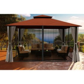 Paragon Outdoor 11' x 14' Gazebo with Privacy Curtains and Mosquito Netting (Various Colors)