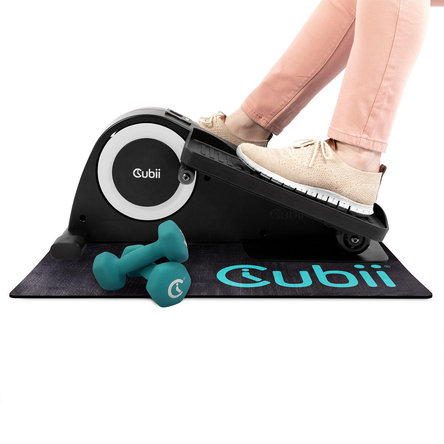 Cubii JR1 Compact Seated Elliptical Starter Set with 3 lb. Dumbbells, Gripii Workout Mat
