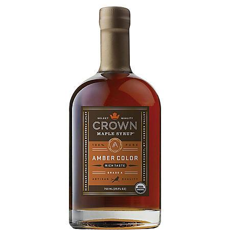 Crown Maple Amber Color Rich Taste Organic Maple Syrup (25 fl oz.)