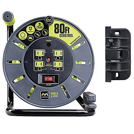 Masterplug 80' 4-Socket 13A 14AWG Large Open Cable Reel