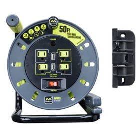 Masterplug Heavy-Duty 50' Cord Reel with USB and Wall Mount