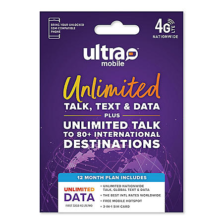 Ultra Mobile 12 Month Unlimited Plan SIM Kit