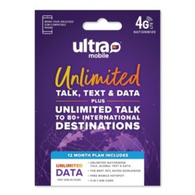 Ultra Mobile Sim Kit Bundle (includes 12 Month Plan - Unlimited)