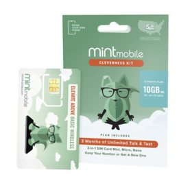 Mint Mobile Sim Kit Bundle (includes 12 Month Plan - 10GB/Mo)