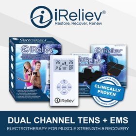iReliev Dual Channel TENS + EMS System with Electrode Pads (2 sizes)