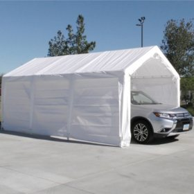 Impact Shelter 10' x 20' Heavy-Duty Steel Carport Canopy Shelter - Fully Enclosed with Sidewalls