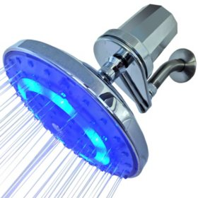 Pure Blue H2O Filtered Rain Garden LED Shower Head
