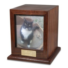 Memorial Gallery Elegant Rosewood Photo Wood Dog Urn with Hinged Photo Window (Choose Your Size)