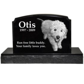 Memorial Gallery Traditional Granite Photo Marker Headstone with Base