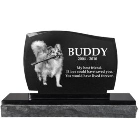 Memorial Gallery Legacy Granite Photo Marker Headstone with Base
