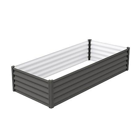 The Organic Garden Co. 6' x 3' Galvanized Raised Garden Bed-  Woodland Gray