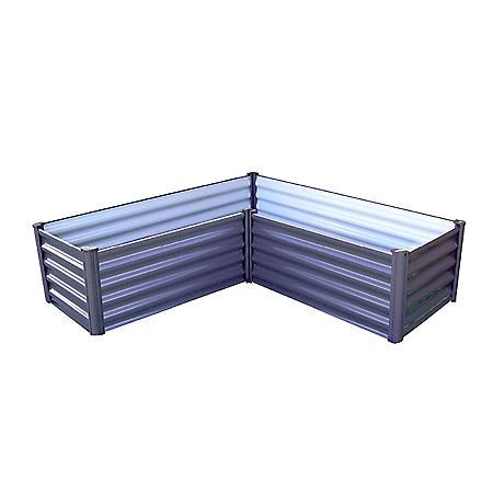 The Organic Garden Co. 5' x 5' L Galvanized Raised Garden Bed - Woodland Gray