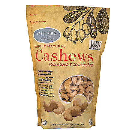 Glenda's Farmhouse Whole Natural Unsalted/Unroasted Cashews (26 oz.)