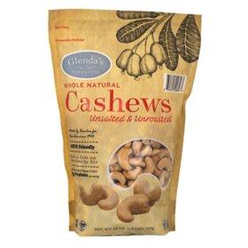 Glenda's Farmhouse Whole Natural Unsalted/Unroasted Cashews (26 oz.)