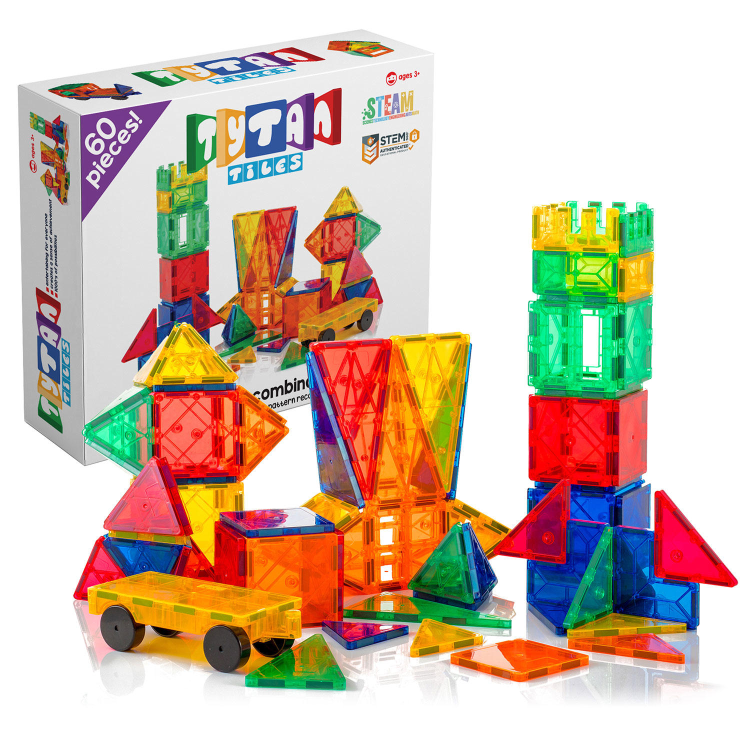 60-Pieces Tytan Magnetic Learning Tiles Building Set