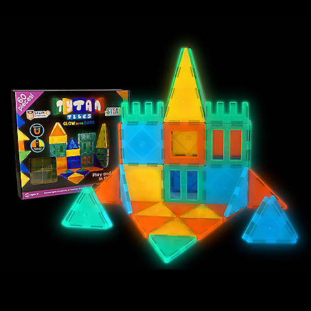 Tytan Glow-in-the-Dark Magnetic Learning Tiles, 60 Piece Building Set Focused on STEM Education w/ Included Car & Carrying Bag
