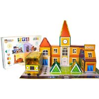 Tytan Cityscape Magnetic Tiles Building Kit - STEM Certified with 4 Themes in 1: School House, Fire Station, Police Station & Hospital