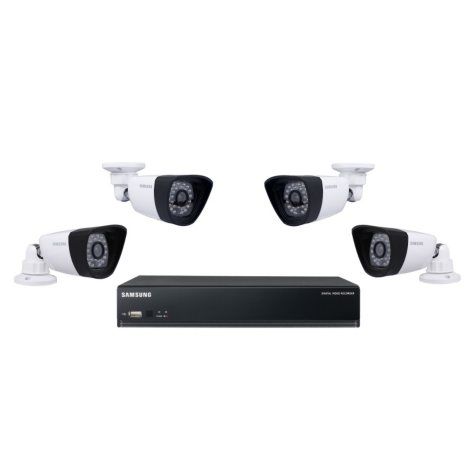 Samsung 4 Channel Security System with 4 600TVL Cameras, 500GB Hard Drive, with 82' Night Vision