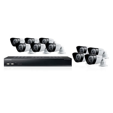 Samsung 16 Channel Security System with 10 600TVL Cameras, 2TB Hard Drive, 82' Night Vision