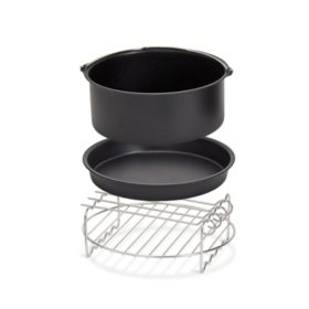 Dash 6-Quart Family Air Fryer Accessory Kit with Cooking Rack and Skewers, Baking Dish & Pizza Pan