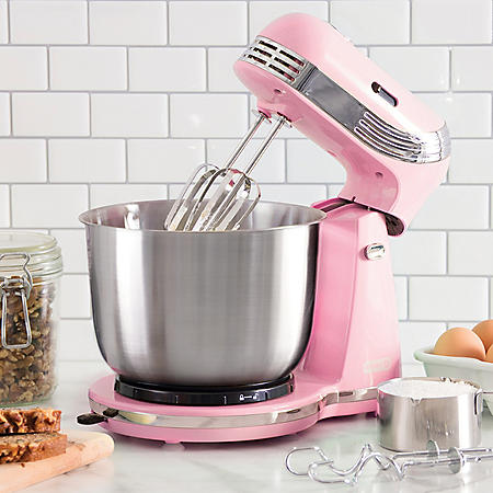 Dash Everyday 6-Speed Stand Mixer with 3-Quart Stainless Steel Mixing Bowl, Dough Hooks & Mixer Beaters (Assorted Colors)