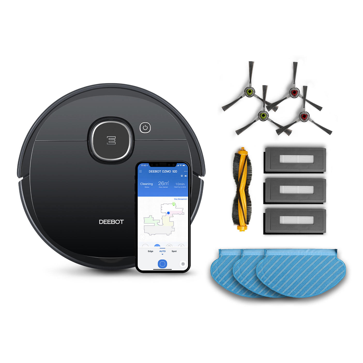 Ecovacs DEEBOT OZMO 920 Vacuum Cleaner & Mopping Robot + Accessory Pack Bundle