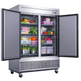 Dukers 40.7 cu. ft. 2-Door Commercial Refrigerator in Stainless Steel