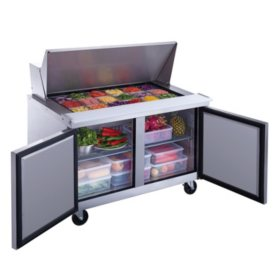Dukers 11.4 cu. ft. 2-Door Commercial Food Prep Table Refrigerator in Stainless Steel with Mega Top