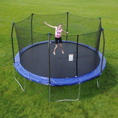 skywalker trampolines 15u0027 round trampoline and enclosure blue